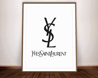 Yves Saint Laurent Art YSL Print Yves Saint Laurent Vintage Wall Decor French Art Deco Typography Art YSL Wall Art Poster YSL Decor Ysl Logo