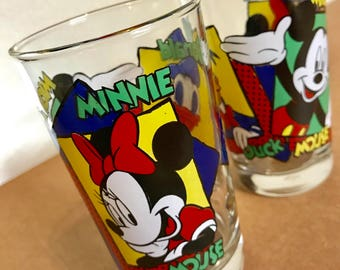 1980's Mickey and Minnie Mouse and Donald Duck Drinking Glasses