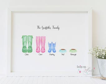 Family Wellington - Wellies pastel print - New Home - Our Family