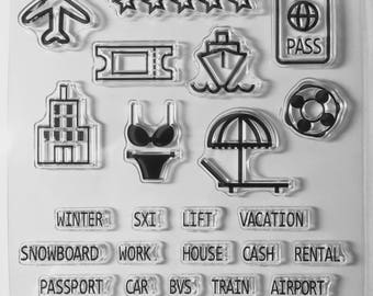 Vacation Stamps, Planner Stamps, Clear Stamps, Rubber Cling Stamps