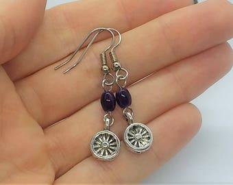 Purple Dangle Earrings (Pierced or Clip-On)