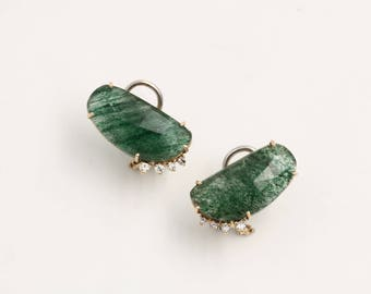 18kt Gold Earrings with Aventurine and natural diamonds, hand-crafted
