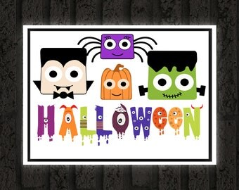 Halloween Printable / Halloween Kid Friendly Monsters / Ready to Print Digital Download / Size 8x10 300 DPI / Halloween Wall Art Printable