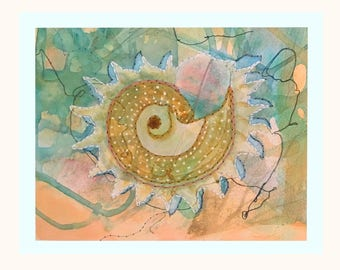 Shell Giclee with hand stitching, 8 1/2 x 10 1/2
