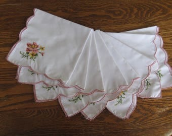 Set of 8 White Cotton Vintage Embroidered Napkins. Skip the paper and save a tree!