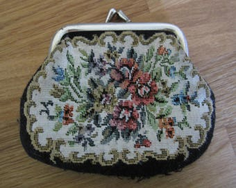 Vintage 60's Carpetbag Style Change Purse, Shabby Chic