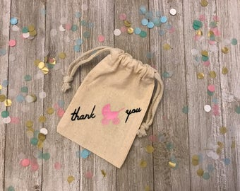 Babyshower-Thank You-Its A Girl-Pink Carriage-Muslin Bags-Party Favors