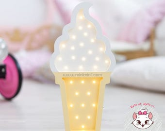 Wooden IceCream Led Night Light For Kids Room And Decoration