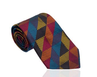 Missoni exclusive vintage silk tie from 80s with colorful pattern like new condition