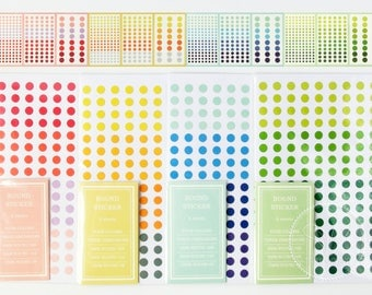 Set of 6 Sheets - Colorful Dot Stickers / Color Coding Label - Label, Planner, Scrapbook, Decoration