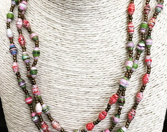 Three strand recycled paper necklace