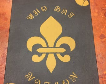 Black and Gold Who Dat Painting 8x10