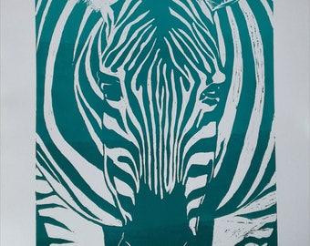 Zebra - Linoprint Lino Cut Art Turquoise