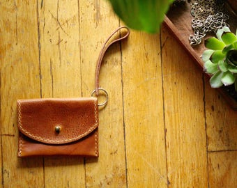 Brown Leather Cardholder with snap cover and wrist strap