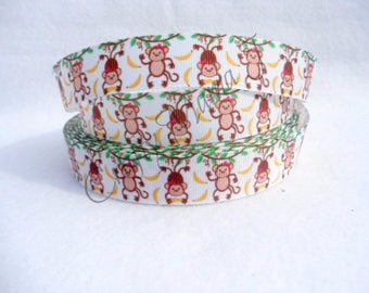 "SALE Monkey in Tree with Bananas on White 7/8"" Grosgrain Ribbon by the yard. Choose between 3/5/10 yards."
