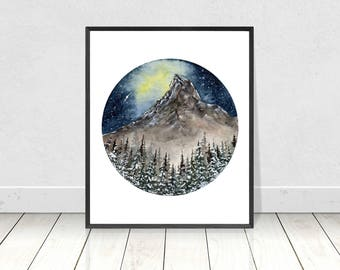 Printable Watercolor Mountain and Pine Tree Under the Northern Lights Landscape Art Print- downloadable Watercolor Poster- Wall Art- Decor
