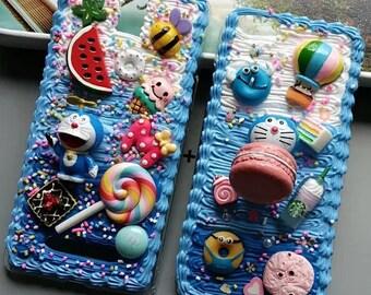 100% Handmade Doraemon Kawaii Decoden Whipped Cream Phone Case, Sweet Macaron3D Anime Cartoon IPhone plus Samsung Galaxy Phone Cover