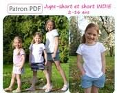 Jupe-short et short INDIE 2-16 ans - Patron de couture PDF