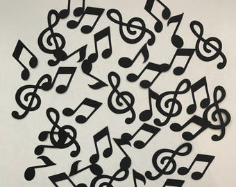 Musical note card shapes - Notes card shapes - Cardmaking - Die cuts - Quavers - Beamed notes - Treble clef - Scrapbooking - Pack of 100