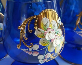 Set of 6 cognac glasses whineglasses cobalt blue gold with painted flowers chez boheems vintage