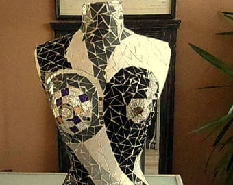 "Mosaic bust, bust mannequin ""yin and yang"", enamels of Briare, original, unique creation Mozalicia"