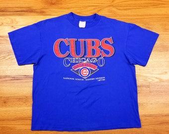 Vintage 90s 1993 Chicago Cubs T shirt Blue Spector Sportswear Size Large L