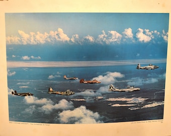WW II Vintage Aviation Aircraft, The Confederate Air Force, Military Lithograph Poster, Photo SSgt. Herman Kokojan, USAF