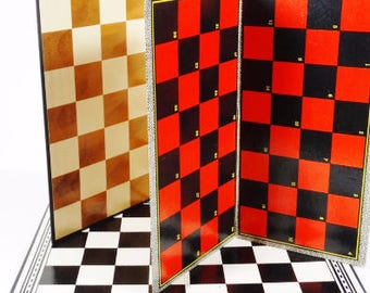 Set of 3 - Vintage Checker Boards Chess Boards- Game Boards, Backgammon Vintage Board Games