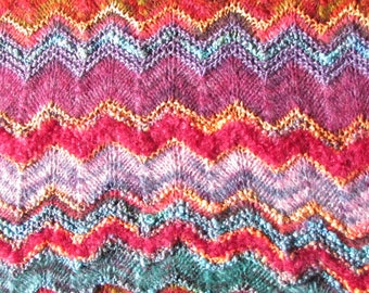 Brand New Hand Knitted Colinette Chevron Pattern Throw
