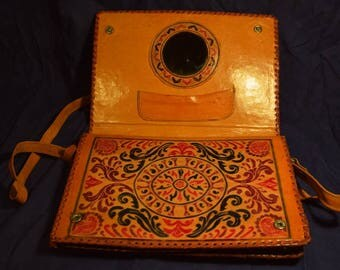 1960s Vintage tooled leather purse with mirror and ornaments - vintage leather bag - tooled vintage purse