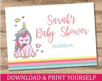 Printable Personalised A6 Unicorn Baby Shower Invitations. Digital Download.