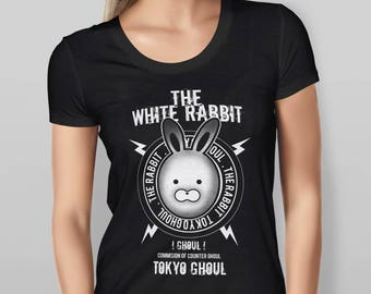 Womens White Rabbit Tokyo Ghoul Anime Character - Black T-shirt