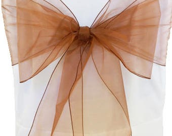 Chair Sashes,  10 Copper / Rose Gold Organza Chair Sashes,  wedding organza chair sashes, chair bows, chair ties.