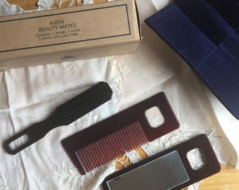SALE!NIB Vintage Avon Beauty Mates Brush,Comb, and Mirror in case,1994