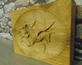 3D OAK Engraved Dragon Plaque