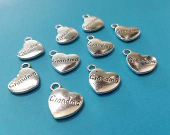 Set of 10, Grandma Charms, Heart Charms, Quote Charms, Quotes, Love Jewelry, Tibetan, Pendant Lot, Pendants, Bulk Charms, Charm Lot, #15L