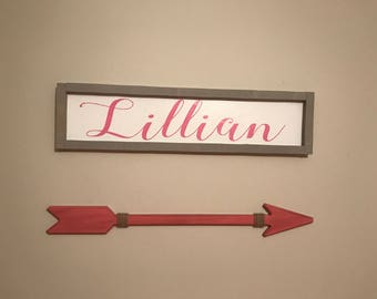 Wood Name Sign, Framed Sign, Personalized Sign, Nursery Sign, Baby Shower Gift, Home Decor