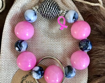 Keychain you wear on your wrist to promote breast cancer awareness.