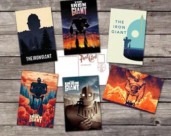 The Iron Giant set 6 postcards    brad bird art poster   hogarth hughes illustration    fan art print   PaperBunnyShop
