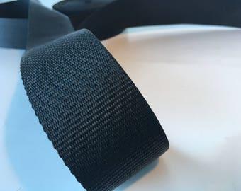"""1m Black polypropylene Webbing 50mm/2"""" wide, bag strap, bag handle, closure strap, horse rugs"""