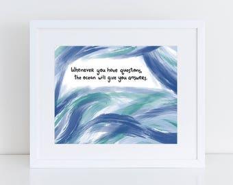 """Ocean Lover Gift - Handletter Art - Poetry Poster - Digital Print Poem - Abstract Art Blue - Bedroom Printable - """"The Ocean"""" by Robyn Petrik"""