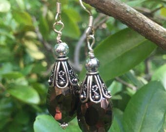 Smoky crystal tear drop earrings
