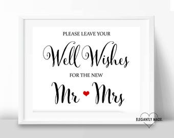 Well Wishes Wedding Sign - Well Wishes Printable Sign - Wedding Signs - Wedding Printable Signs - Wedding Decor - BLACK10X8WW1