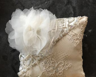 Beautiful  creamy white Satin with couture lace both take  from disigner wedding gowns
