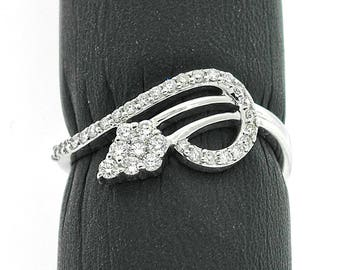 Stylish 14k White Gold Ring 0.31ct. Diamonds with IGI Certificate
