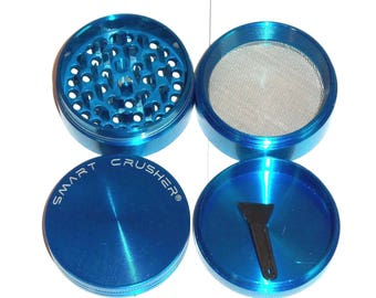 4 Piece Zinc & Steel Magnetic Coffee Spice Tobacco  Herb Grinder Blue