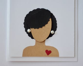 Afrocentric Greeting Card - Fro and Pearls