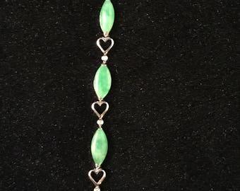 Green jadeite jade chain bracelet