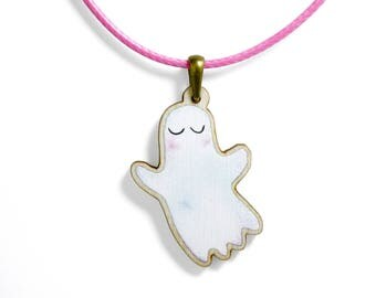 Kids Jewellery Necklace WOODEN ***GHOST***