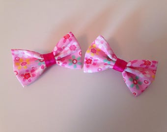 Pink floral fabric hair bows